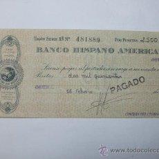 Documentos bancarios: CHEQUE DEL BANCO HISPANO AMERICANO 1940. Lote 22217116