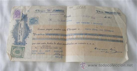 CHEQUE ENRIQUE LOPEZ OVIEDO 1944 (Coleccionismo - Documentos - Documentos Bancarios)
