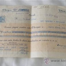 Documentos bancarios: CHEQUE ENRIQUE LOPEZ OVIEDO 1944. Lote 26917374