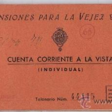 Documentos bancarios: TALONARIO CHEQUES.- CAJA PENSIONES VEJEZ Y AHORRO.- OF. BORJAS BLANCAS.- VER FOTO.- AÑOS 50. Lote 21525029