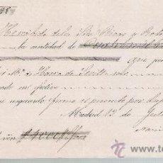 Documentos bancarios: RECIBO DE COBRO POR 4.000 REALES DE VELLÓN. MADRID 1857. MEMBRETE DE RIVAS Y RODRIGUEZ.. Lote 22354852
