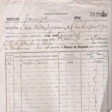 Documentos bancarios: BANCO DE ESPAÑA. DEPOSITO TRANSMISIBLE. FACURA DE 13 BILLETES HIPOTECARIOS DE CUBA,EMISIÓN 1890. Lote 22377971