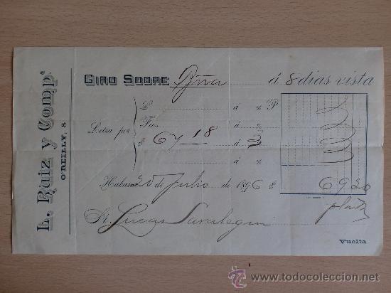 LETRA DE CAMBIO. L. RUIZ Y COMPAÑIA. O`REILLY, 8. HABANA 1896. (Coleccionismo - Documentos - Documentos Bancarios)
