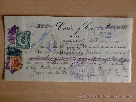 LETRA DE CAMBIO. CUBA 1915. COSIO Y CIA. (Coleccionismo - Documentos - Documentos Bancarios)