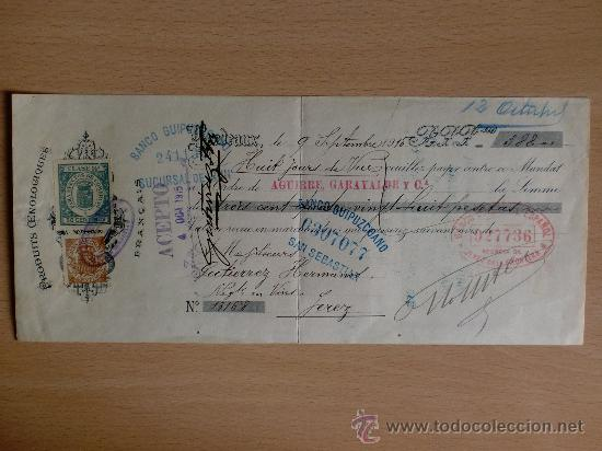 LETRA DE CAMBIO. BORDEAUX 1915. PRODUCTOS FRANCESES. BANCO DE GUIPUZCUA. (Coleccionismo - Documentos - Documentos Bancarios)