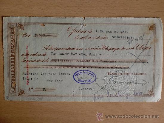 LETRA DE CAMBIO. LIMA 2 MAYO 1927. BANCO DEL PERU Y LONDRES. (Coleccionismo - Documentos - Documentos Bancarios)