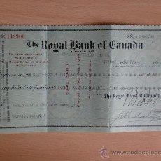 Documentos bancarios: LETRA DE CAMBIO. MANZANILLO, CUBA 1921. THE ROYAL BANK OF CANADA.. Lote 22906692