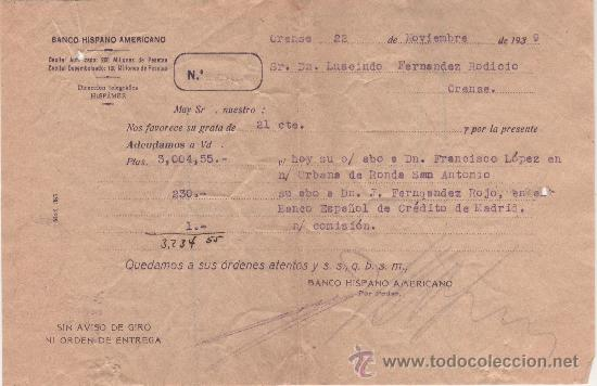 BANCO HISPANO AMERICANO - ADEUDO CARGO TRANSFERENCIA - 22 NOVIEMBRE 1939 (Coleccionismo - Documentos - Documentos Bancarios)