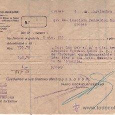 Documentos bancarios: BANCO HISPANO AMERICANO - ADEUDO CARGO TRANSFERENCIA - 4 NOVIEMBR 1939 SALUDO A FRANCO ARRIBA ESPAÑA. Lote 27213191