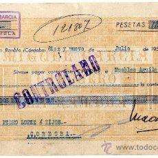 Documentos bancarios: RARO CHEQUE - MIGUEL GARCIA - LA RAMBLA - CORDOBA. Lote 24576448