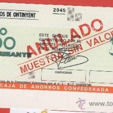 Documentos bancarios: LIBRETA DE AHORRO- TALON- CHEQUE CARBURANTE -CAJA DE AHORROS DE ONTINYENT-CHEQUE MUESTRA ANULADA. Lote 24595450