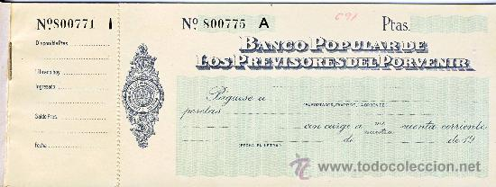 Talonario De Cheques Del Banco Popular De Los P Verkauft In