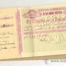 Documentos bancarios: TALONARIO .. EL CRÉDITO DE LA UNION MINERA .. 190..... 21 HOJAS SIN RELLENAR. Lote 25053782