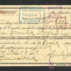 Documentos bancarios: LETRA LIBRADA POR CABEZA Y PALACIO DE LA HABANA (CUBA). 1922. Lote 26262855