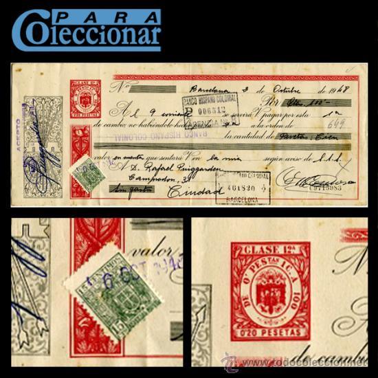 LETRA DE CAMBIO - BANCO HISPANO COLONIAL - BARCELONA - 1948 - LCPC (Coleccionismo - Documentos - Documentos Bancarios)