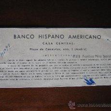 Documentos bancarios: CHEQUERA CHEQUE BANCO HISPANO AMERICANO. AÑOS 60. Lote 26848144