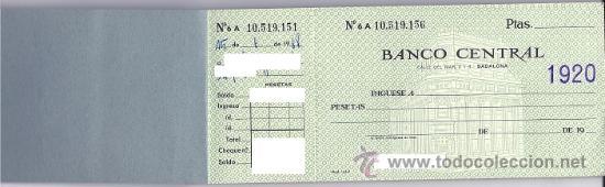 Documentos bancarios: 8316 - TALONARIO DE CHEQUES DEL BANCO CENTRAL - SUCURSAL BADALONA AÑO 1968 - Foto 2 - 26939645
