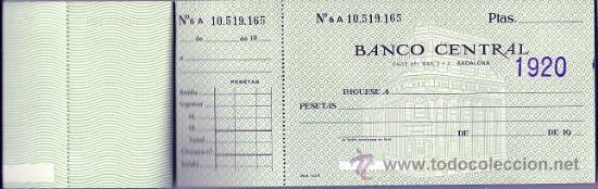 Documentos bancarios: 8316 - TALONARIO DE CHEQUES DEL BANCO CENTRAL - SUCURSAL BADALONA AÑO 1968 - Foto 3 - 26939645