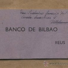 Documentos bancarios: TALONARIO CHEQUES BANCO DE BILBAO. REUS. INTEGRO.. Lote 27156672