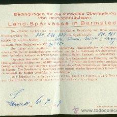 Documentos bancarios: DOCUMENTO BANCARIO ALEMAN AÑO 1929. CIUDAD BARMSTEDT. CAJA DE AHORROS. Lote 29071076