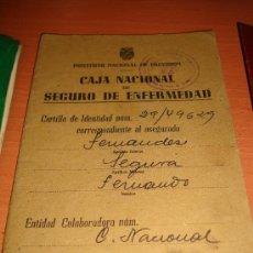 Documentos bancarios: CARTILLA CAJA NACIONAL DE SEGURO DE ENFERMEDAD 08-01-1945. Lote 29332257