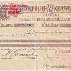Documentos bancarios: BANCO DE VIZCAYA EN MADRID. DOCUMENTO DE ABONO EN CUENTA DE 1940. Lote 29731863
