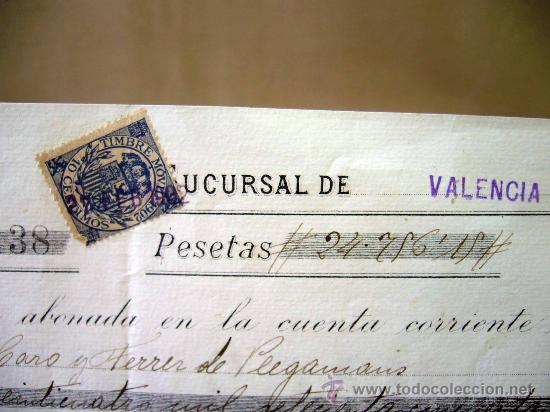 DOCUMENTO, BANCO DE ESPAÑA, SUCURSAL VALENCIA, ABONO EN CUENTA CONTRA FACTURA, MARZO DE 1902 (Coleccionismo - Documentos - Documentos Bancarios)