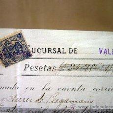Documentos bancarios: DOCUMENTO, BANCO DE ESPAÑA, SUCURSAL VALENCIA, ABONO EN CUENTA CONTRA FACTURA, MARZO DE 1902. Lote 31207545