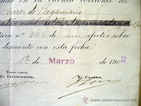 Documentos bancarios: DOCUMENTO, BANCO DE ESPAÑA, SUCURSAL VALENCIA, ABONO EN CUENTA CONTRA FACTURA, MARZO DE 1902 - Foto 3 - 31207545