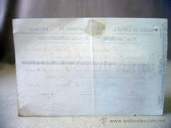 Documentos bancarios: DOCUMENTO, BANCO DE ESPAÑA, SUCURSAL VALENCIA, ABONO EN CUENTA CONTRA FACTURA, MARZO DE 1902 - Foto 4 - 31207545