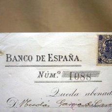 Documentos bancarios: DOCUMENTO, BANCO DE ESPAÑA, SUCURSAL VALENCIA, ABONO EN CUENTA CONTRA FACTURA, MAYO DE 1902. Lote 31235133