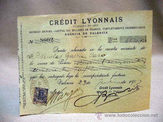 Documentos bancarios: DOCUMENTO, CREDIT LYONNAIS, DOCUMENTO BANCARIO, 1902, VALENCIA, SELLADO - Foto 1 - 32341326
