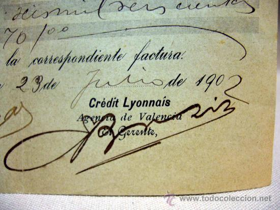 Documentos bancarios: DOCUMENTO, CREDIT LYONNAIS, DOCUMENTO BANCARIO, 1902, VALENCIA, SELLADO - Foto 2 - 32341326