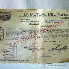 Documentos bancarios: DOCUMENTO, LA MUTUA DEL TURIA, CATEGORIA ESPECIAL, 1947, FACTURA. Lote 31875697