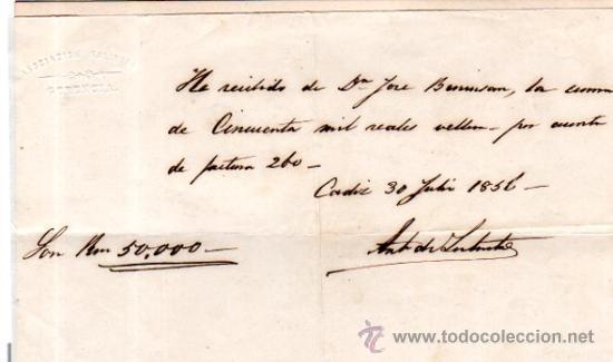 SEIS RECIBÍ, ASOCIACIÓN SALINERA CÁDIZ, 1850. VER FOTOS ADICIONALES.SAL. (Coleccionismo - Documentos - Documentos Bancarios)