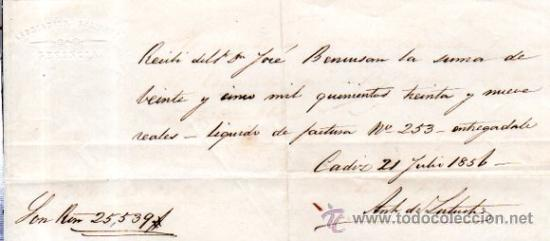 Documentos bancarios: SEIS RECIBÍ, ASOCIACIÓN SALINERA CÁDIZ, 1850. VER FOTOS ADICIONALES.SAL. - Foto 2 - 31537401