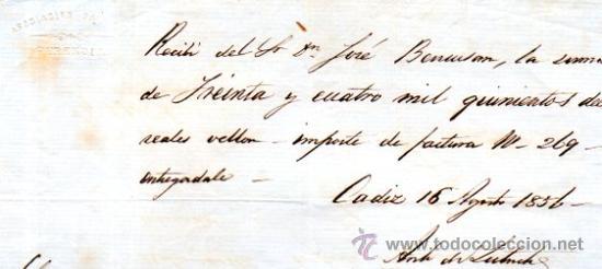 Documentos bancarios: SEIS RECIBÍ, ASOCIACIÓN SALINERA CÁDIZ, 1850. VER FOTOS ADICIONALES.SAL. - Foto 3 - 31537401