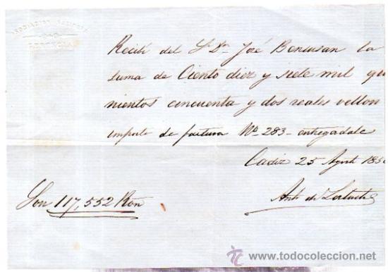 Documentos bancarios: SEIS RECIBÍ, ASOCIACIÓN SALINERA CÁDIZ, 1850. VER FOTOS ADICIONALES.SAL. - Foto 6 - 31537401