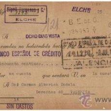 Documentos bancarios: 1940 ELCHE (ALICANTE) LETRA DE CAMBIO SELLO DE TAMPON RIPOLL HERMANOS. FISCAL 1,25 PTS FNMT Y 25 CTS. Lote 31580536