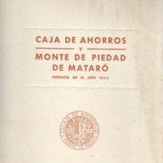 Documentos bancarios: ESTATUTOS DE LA CAJA DE AHORROS Y MONTE PIEDAD DE MATARO 1950. Lote 31614553
