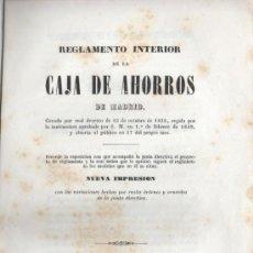 Documentos bancarios: REGLAMENTO INTERIOR CAJA DE AHORROS DE MADRID 1845. Lote 31614902