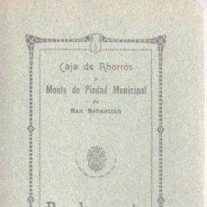 Documentos bancarios: REGLAMENTO DE CAJA DE AHORROS Y MONTE DE PIEDAD MUNICIPAL DE SAN SEBASTIAN 1915. Lote 31682221