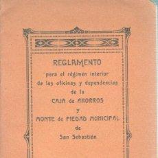 Documentos bancarios: REGLAMENTO REGIMEN INTERIOR DE CAJA DE AHORROS Y MONTE DE PIEDAD MUNICIPAL DE SAN SEBASTIAN 1917. Lote 31682290