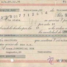 Documentos bancarios: LETRA DE CAMBIO DE IMPORTACIONES JOSE G. IGLESIAS - BARCELONA - AÑO 1976. Lote 31832231