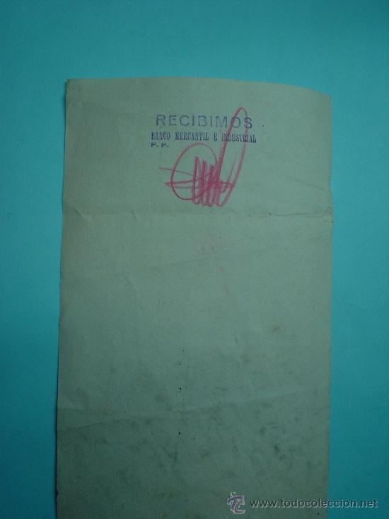 Documentos bancarios: Documento bancario del banco mercantil e industrial de Rafael Castelló fábrica de juguetes. 1958. - Foto 2 - 32018918