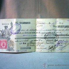 Documentos bancarios: DOCUMENTO BANCARIO, CHEQUE, 25 PESETAS, 1935, BANCO DE VALENCIA. Lote 32294813