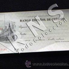 Documenti bancari: ANTIGUO CHEQUE EN BLANCO DEL BANCO ESPAÑOL DE CRÉDITO - AÑOS 60 - ESPAÑA - PESETAS - BANCA PAPEL. Lote 40018103