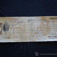 Documentos bancarios: PRIMERA DE CAMBIO BANCO DE ESPAÑA. MADRID. 1885. NAVARRO Y COLL HNOS. BARCELONA.. Lote 32984240