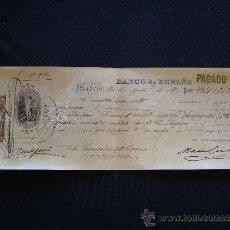 Documentos bancarios: PRIMERA DE CAMBIO BANCO DE ESPAÑA. MADRID. 1885. SEBASTIA COMAS. BARCELONA.. Lote 32984508