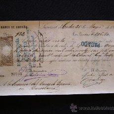 Documentos bancarios: PRIMERA DE CAMBIO BANCO DE ESPAÑA. CADIZ. 1887. MINERAL DE APT. BARCELONA.. Lote 32984598